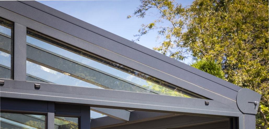 terrasoverkapping ontwerp met aflopend dak